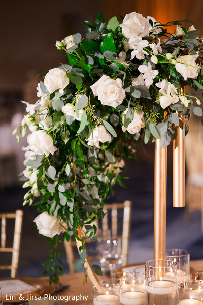 Floral arrangement details.