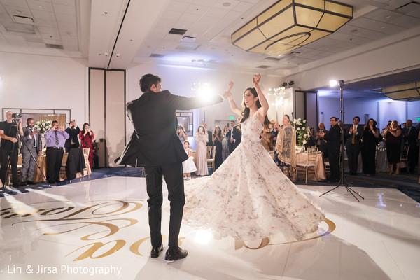 Indian bride and Raja dancing.