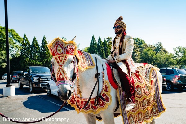 Majestic Indian groom on his horse.