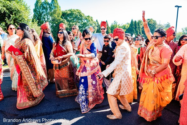 Indian guests having fun at baraat.