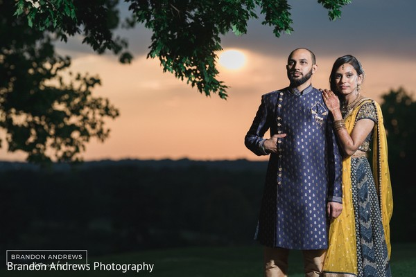 Enchanting Indian couple with a beautiful landscape.