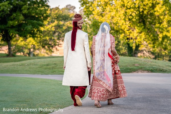 Lovely Indian couple walking together.