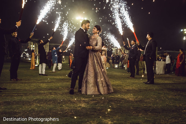 Dreamy capture of Indian bride and groom.