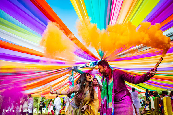 Colorful Indian couples celebration.