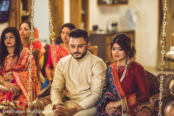 Indian bride and groom looking beautiful.