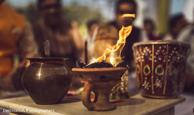 Closeup capture of Indian wedding sacred fire.