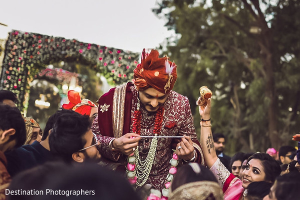 Indian groom at his milni rituals.