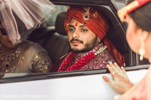 Indian groom on his baraat transportation capture.