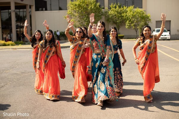 Incredible Indian bridesmaids entrance to baraat celebration.