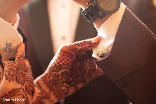 Closeup capture of Indian grooms Cufflinks.