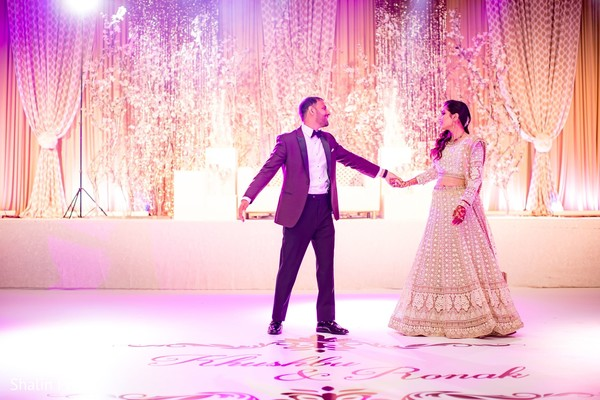 Lovely capture of Indian bride and groom at their first dance.