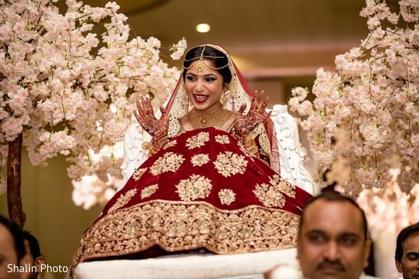 Impressive Indian bridal entrance to ceremony.