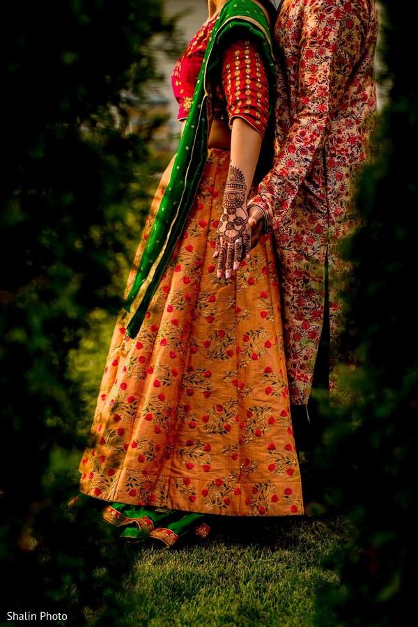 Graceful maharani and rajah pre-wedding fashion photo.