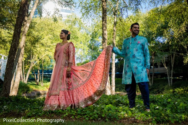Elegant indian bride and groom sangeet outfit
