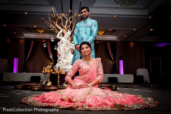 Amazing Indian bride and groom sangeet outfit