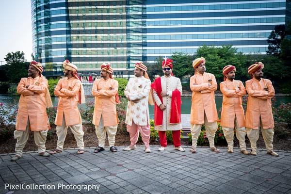 Sensational outdoor themed indian groom with groomsmen photo shoot
