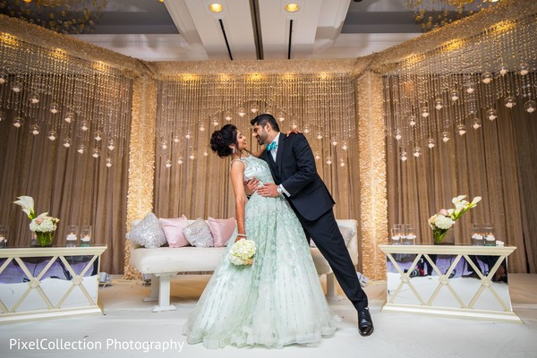 Fascinating Indian bride and groom wedding reception outfit
