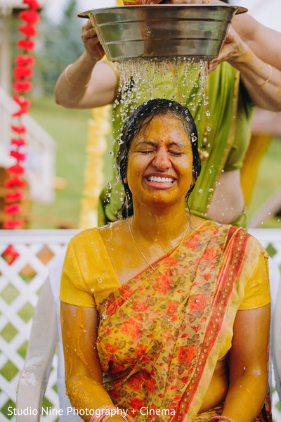 Traditional indian bride's haldi ritual