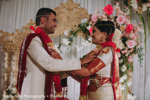 Indian bride  and groom with garlands