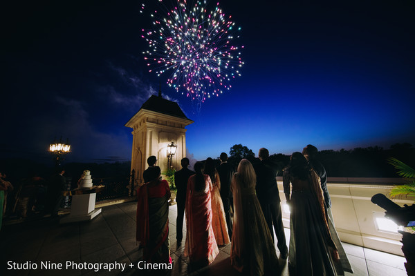 Indian wedding reception fireworks show.
