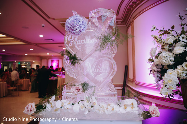 Incredible Indian wedding personalized hearts Ice Sculpture hearts.