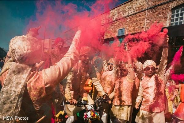 Wonderful capture of Indian groomsmen at baraat celebration.
