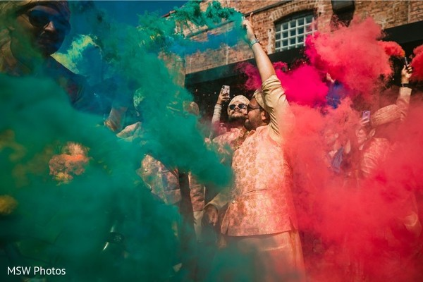 Colorful smog for Indian wedding baraat capture.