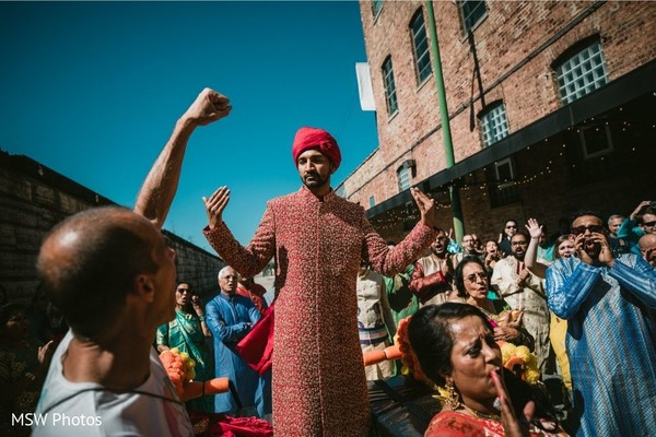 Indian groom at his baraat procession capture.