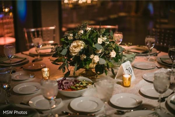 Elegant Indian wedding tableware setup.