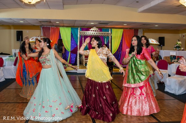 Upbeat Indian bridal with bridesmaids pre-wedding dance.