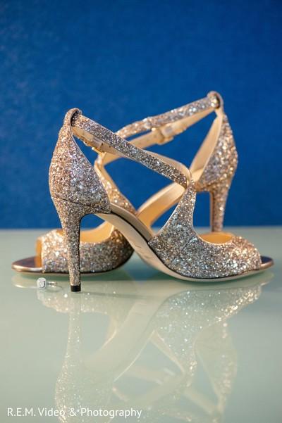 Elegant Indian bridal sparking wedding shoes.
