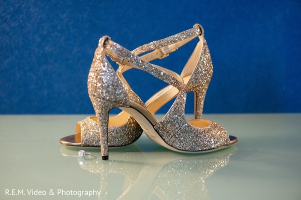 Elegant Indian bridal wedding shoes and engagement ring.