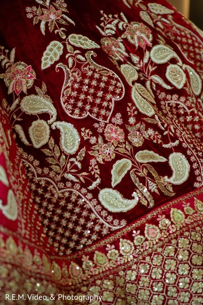 Incredible Indian bridal ceremony lehengas embroidery.