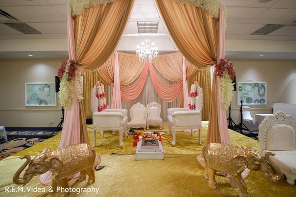 Magnificent Indian bridal ceremony mandap decorations.