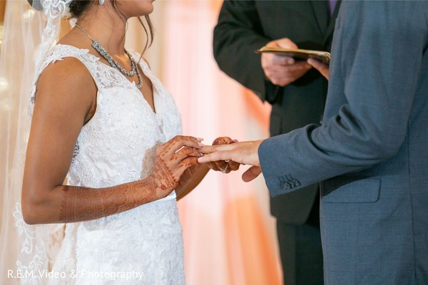 Closeup capture of Indian couple exchanging rings.
