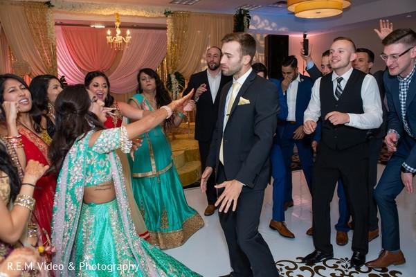 Upbeat Indian wedding  reception dance.