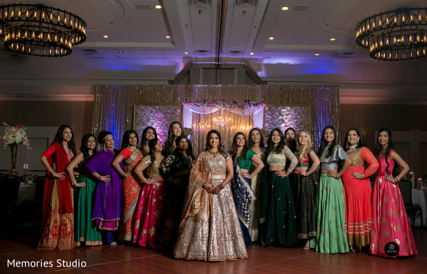 Magnificent indian bride and female guests photography