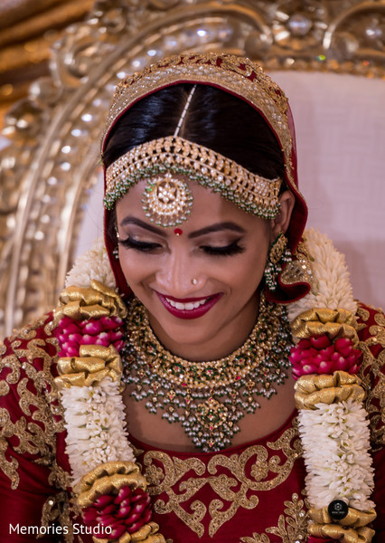 Sweet indian bride during wedding ceremony