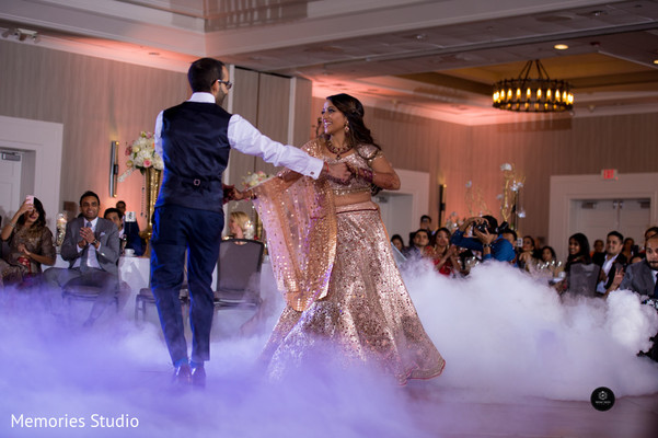 Sweet Indian couple having their first dance
