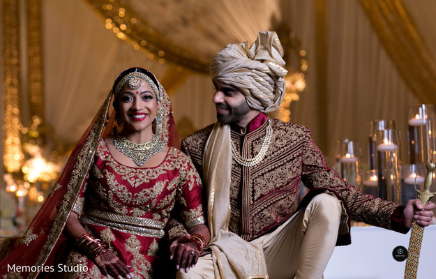 Indian bride and groom romantic photography