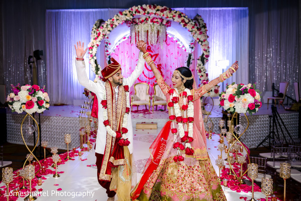 Indian bride and groom looking magical.
