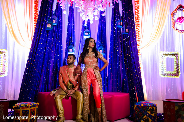 Gorgeous Indian bride and Raja posing.