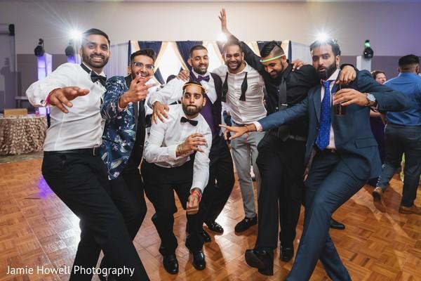 Adorable indian groom with groomsmen capture