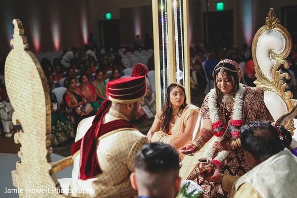 Lovely lovebirds at their wedding ceremony