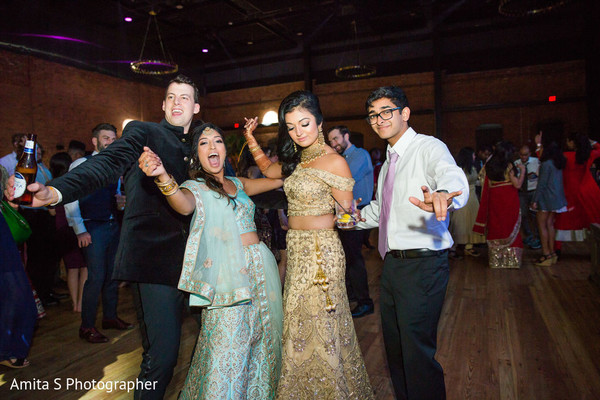 Indian couple having fun in the reception party.