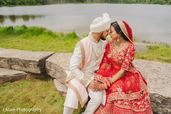 Indian bride and groom having a romantic moment.