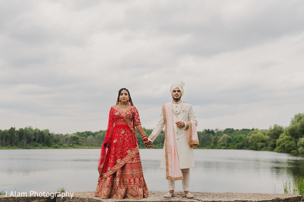 Bride and Raja by the lake.