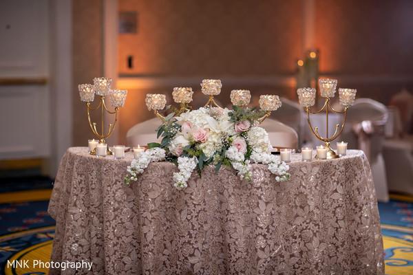 Unique Indian wedding reception table centerpiece