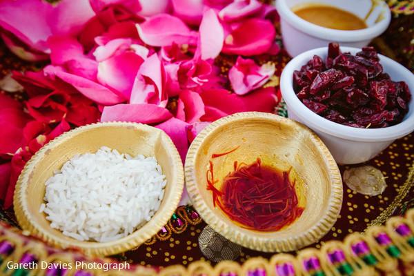 Closeup capture of Indian wedding ritual items.
