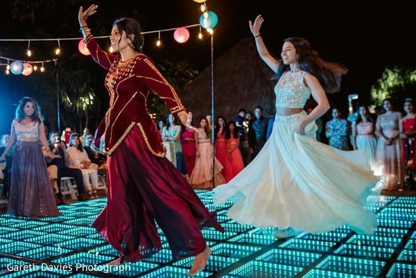 Indian bridesmaids at their sangeet dance.